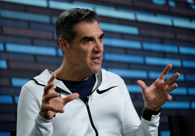 Villanova head coach Jay Wright answers questions during an interview before the college basketball championship game. (AP)