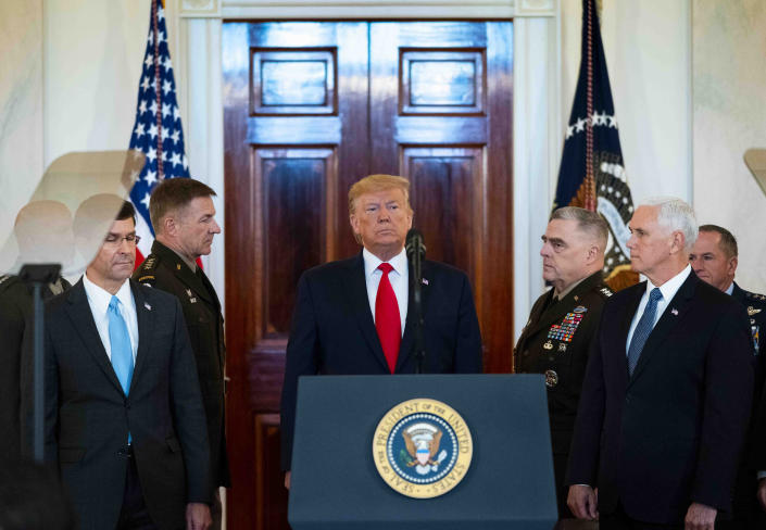 President Donald Trump walks to the lectern in the Grand Foyer of the White House, Wednesday, Jan. 8, 2020, where he discussed the confrontation with Iran after Tehran launched airstrikes on two bases housing American troops in Iraq. (Doug Mills/The New York Times)