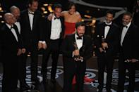 """Argo director Ben Affleck accepts the Oscar for Best Movie onstage at the 85th Annual Academy Awards on February 24, 2013 in Hollywood, California. Iran hostage drama """"Argo"""" won the coveted best film Oscar late Sunday, while Daniel Day-Lewis took a record third best actor prize at the 85th Academy Awards, Hollywood's biggest night"""