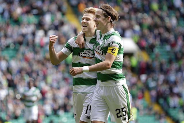 "Football - Celtic v Inverness Caledonian Thistle - Ladbrokes Scottish Premiership - Celtic Park - 15/8/15 Celtic's Stuart Armstrong (L) celebrates scoring their fourth goal Action Images via Reuters / Graham Stuart Livepic EDITORIAL USE ONLY. No use with unauthorized audio, video, data, fixture lists, club/league logos or ""live"" services. Online in-match use limited to 45 images, no video emulation. No use in betting, games or single club/league/player publications. Please contact your account representative for further details."