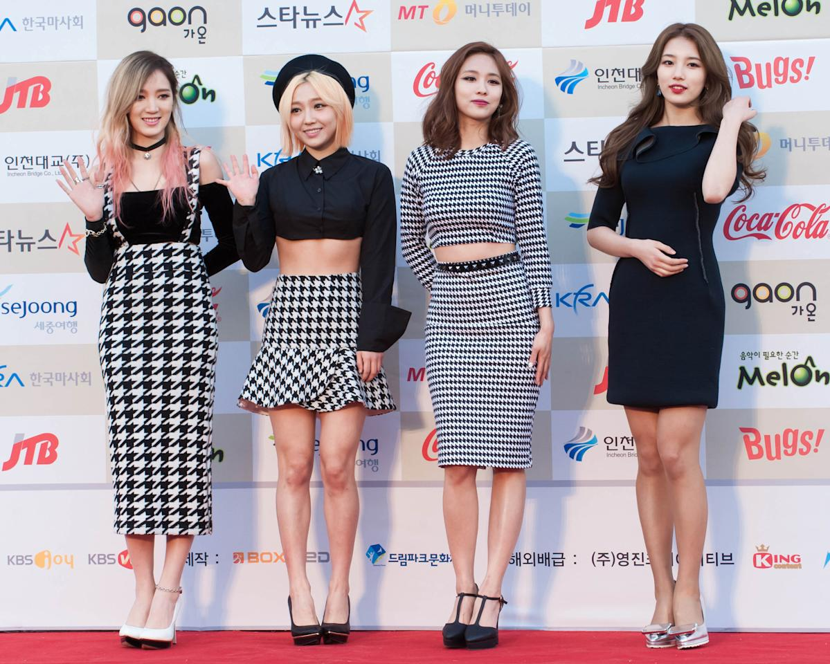 <p>Miss A at the Gaon Chart K-pop Awards at Olympic Park on 12 February, 2014 in Seoul, South Korea. (Photo: Choi Soo-Young/Multi-Bits, Getty Images) </p>