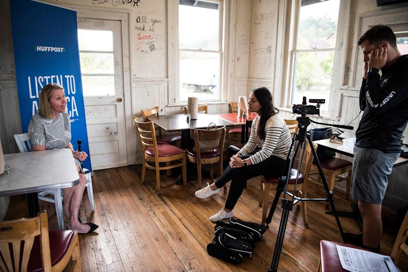 North Carolina state Sen. Terry Van Duyn is interviewed by HuffPost staffer Meredith Melnick during the visit to Asheville.