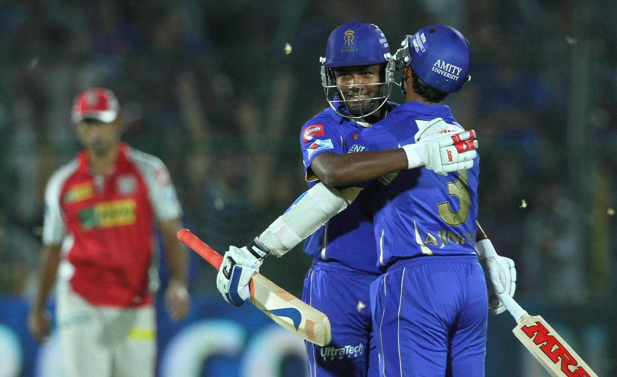 Royals player Sanju Samso and Rajasthan Royals player Ajinkya Rahane celebrate his winning during match 18 of the Pepsi Indian Premier League ( IPL) 2013  between The Rajasthan Royals and the Kings Xi Punjab  held at the Sawai Mansingh Stadium in Jaipur on the 14th April 2013. (BCCI)