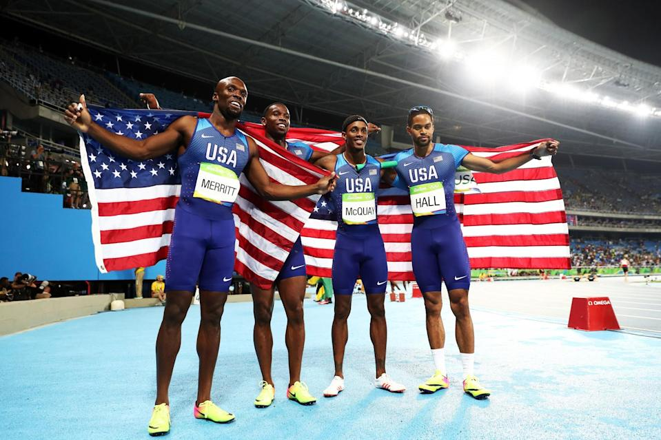 <p>(L-R) Lashawn Merritt, Gil Roberts, Tony McQuay and Arman Hall of the United States react after winning gold in the Men's 4 x 400 meter Relay on Day 15 of the Rio 2016 Olympic Games at the Olympic Stadium on August 20, 2016 in Rio de Janeiro, Brazil. (Photo by Ezra Shaw/Getty Images) </p>