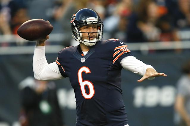 Chicago Bears quarterback Jay Cutler (6) passes during the first half of an NFL preseason football game against the Jacksonville Jaguars in Chicago, Thursday, Aug. 14, 2014. (AP Photo/Andrew Nelles)
