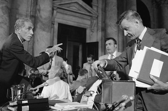<p>Sen. Claiborne Pell, left, gestures as he talks with Zbigniew Brzezinski, assistant to Pres. Jimmy Carter for National Security, far right, during a break in testimony the Senate Judiciary Special Subcommittee investigating Billy Carters ties with Libya, Wednesday, Sept. 17, 1980, Washington, D.C. In a heated debate with Sen. Strom Thurmond, R-S.C., earlier in the day, Brzezinski denied that he became a political trouble-shooter when he called the President's brother Billy to warn him that he might be damaging the U.S. by dealing with the Libyan government. (Photo: Barry Thumma/AP) </p>