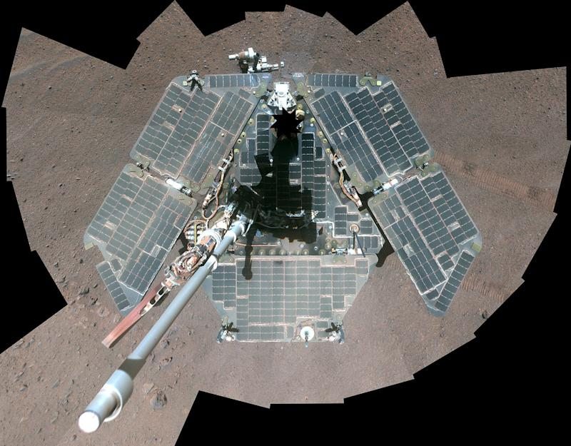 A self-portrait of NASA's Mars Exploration Rover Opportunity, using a combination of multiple frames taken by Opportunity's panoramic camera (Pancam) is seen on Mars in 2014. (Photo: NASA NASA / Reuters)