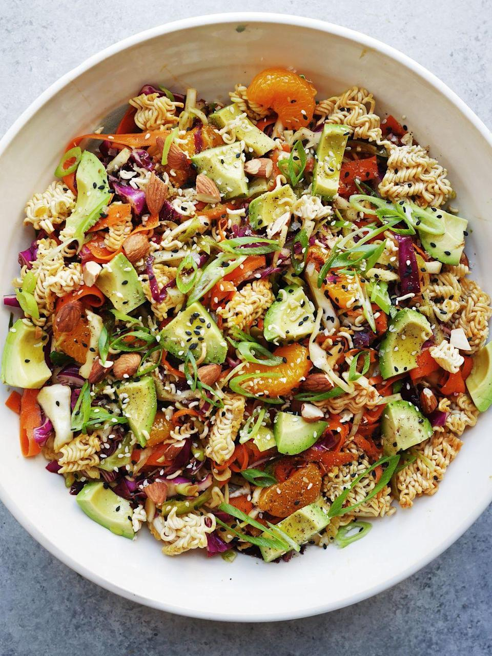 """<p><span>This deserves to be eaten for dinner on a porch. Don't let us down. </span></p><p><span>Get the recipe from </span><a href=""""https://www.delish.com/cooking/a21087265/ramen-noodle-salad-recipe/"""" rel=""""nofollow noopener"""" target=""""_blank"""" data-ylk=""""slk:Delish"""" class=""""link rapid-noclick-resp"""">Delish</a><span>.</span><br></p>"""