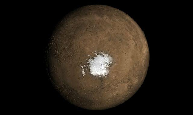 Salty lakes the size of Scotland could be buried beneath Martian pole