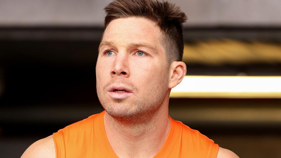 GWS Giants star Toby Greene has had his three-week ban for umpire contact extended to sox weeks after the AFL appealed the severity of the ban. (Photo by Jonathan DiMaggio/Getty Images)