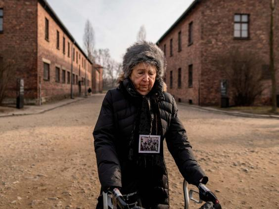 Holocaust survivor Miriam Ziegler visits Auschwitz, 75 years after she was liberated from it (AFP via Getty)