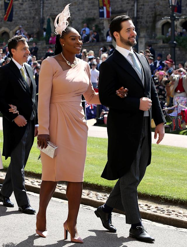 Serena Williams and Alexis Ohanian arrive at St George's Chapel at Windsor Castle for the wedding of Meghan Markle and Prince Harry. Saturday May 19, 2018. Chris Radburn/Pool via REUTERS