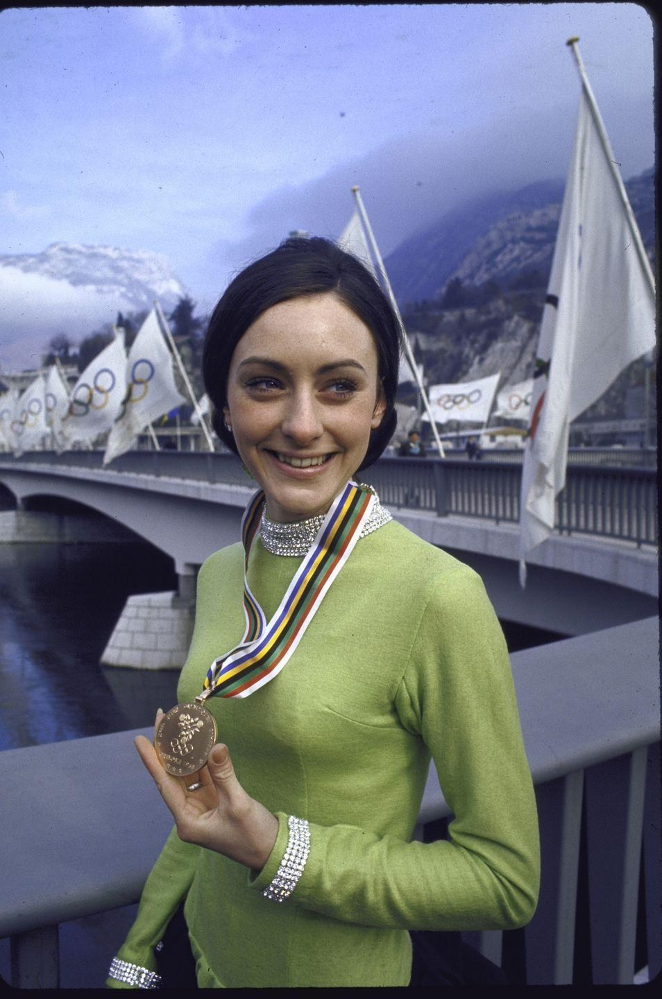 <p>American skater Peggy Fleming took home the gold in Women's Figure Skating during the 1968 winter Olympics in Grenoble. The win was huge for the United States, because it was the first figure skating victory since the tragic plane crash that killed the entire U.S. skating team in 1961. </p>