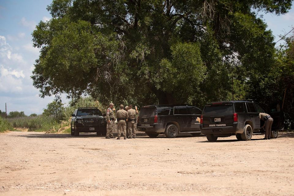 Texas Department of Public Safety officers near the U.S. and Mexico border in Del Rio on July 22, 2021. Troopers are a constant presence in Val Verde County.