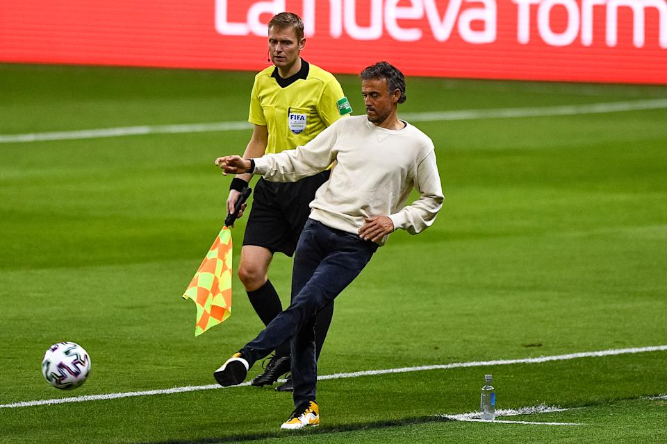 SEVILLE, SPAIN - MARCH 31: coach Luis Enrique of Spain during the FIFA World Cup Qatar 2022 Qualifier between Spain and Kosovo at Estadio Olimpico on March 31, 2021 in Seville, Spain (Photo by Pablo Morano/BSR Agency/Getty Images)