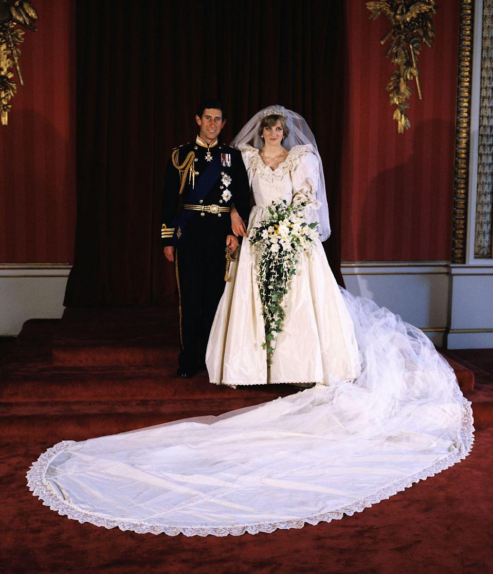 "<p>For <a href=""http://www.eonline.com/news/859994/the-epic-story-of-princess-diana-s-wedding-dress-3-months-25-feet-of-train-a-20-year-old-bride-and-a-fashion-legacy-for-the-ages"" rel=""nofollow noopener"" target=""_blank"" data-ylk=""slk:David Emanuel"" class=""link rapid-noclick-resp"">David Emanuel</a>, it was a given that the veil extend past the hem of the dress. The whole thing — anchored by her tiara — used 153 yards of tulle. </p>"