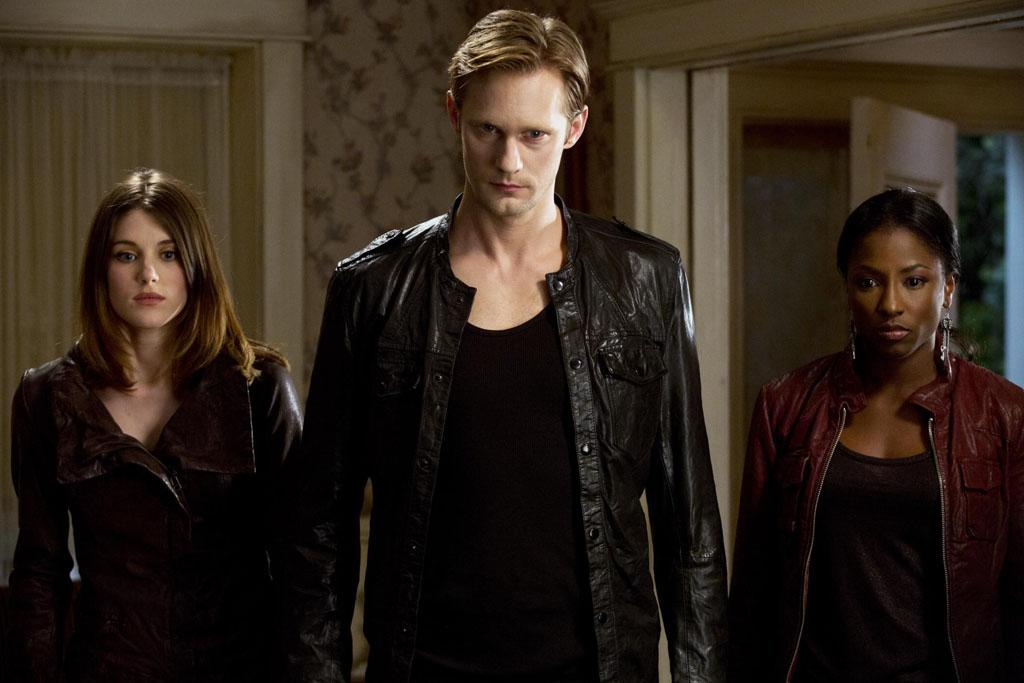 """Lucy Griffiths, Alexander Skarsgard and Rutina Wesley in the """"True Blood"""" Season 5 finale."""
