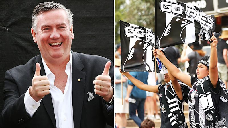Seen here, Eddie McGuire says fans are still buying season membership amid the virus crisis.