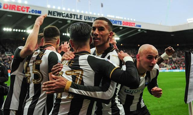 "<span class=""element-image__caption"">Newcastle celebrate the Ayoze Pérez opener that put them on track for an instant top-flight return.</span> <span class=""element-image__credit"">Photograph: Serena Taylor/Newcastle Utd via Getty Images</span>"