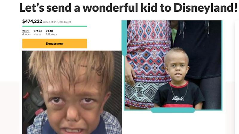 The fundraiser to send Quaden to Disneyland has raised more that $470,000 but his mother says she wants to donate it to charity. Source: GoFundMe