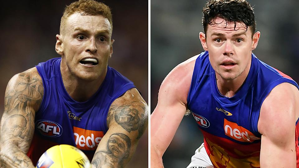 Brisbane Lions star Mitch Robinson, left, debunked a fake tweet about teammate Lachie Neale, right, which was circulated over the weekend.