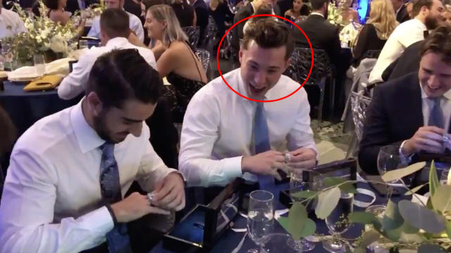 The face of Blues defenceman Vince Dunn after seeing his Stanley Cup ring at a private ceremony on Monday night really says it all. (Twitter//@StLouisBlues)