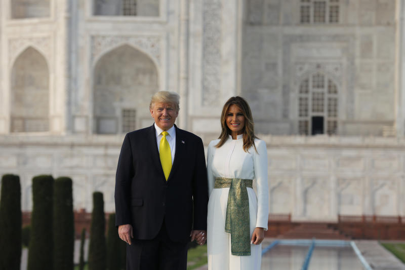 U.S. President Donald Trump, and first lady Melania Trump visit the Taj Mahal, the 17th century monument to love in Agra, India, Monday, Feb. 24, 2020. (AP Photo/Rajesh Kumar Singh)