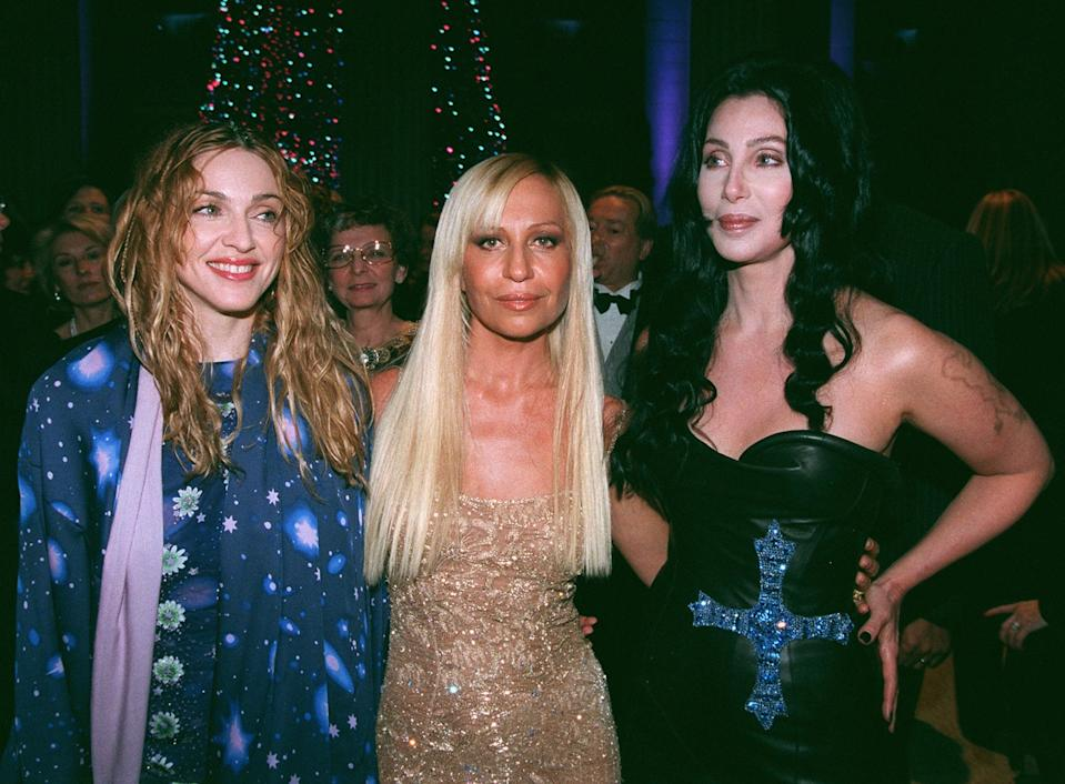 Madonna, Donatella Versace, and Cher at the Met gala in 1997