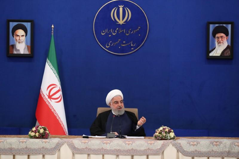 Iranian President Hassan Rouhani speaks during a cabinet meeting, as the spread of the coronavirus disease (COVID-19) continues, in Tehran