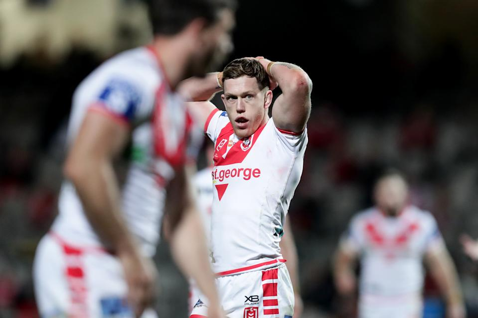 Cameron McInnes of the Dragons looks on during the round 16 NRL match between the St George Illawarra Dragons and the Gold Coast Titans at Netstrata Jubilee Stadium on August 28, 2020 in Sydney, Australia