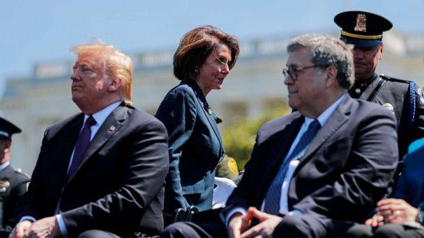PHOTO: Speaker of the House Nancy Pelosi walks behind President Donald Trump and Attorney General William Barr as they all attend the 38th Annual National Peace Officers Memorial Service on Capitol Hill, May 15, 2019. (Carlos Barria/Reuters)