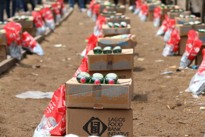 Food supplies are pictured before a food aid distribution by volunteers of the Lagos food bank initiative in a community in Oworoshoki, Lagos, Nigeria