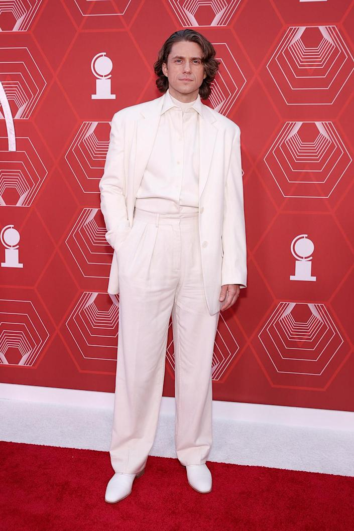 <p>Tveit, is the only actor nominated in the best leading actor category for his performance in <em>Moulin Rouge, </em>wore an all-white ensemble to the 2021 Tony Awards. </p>