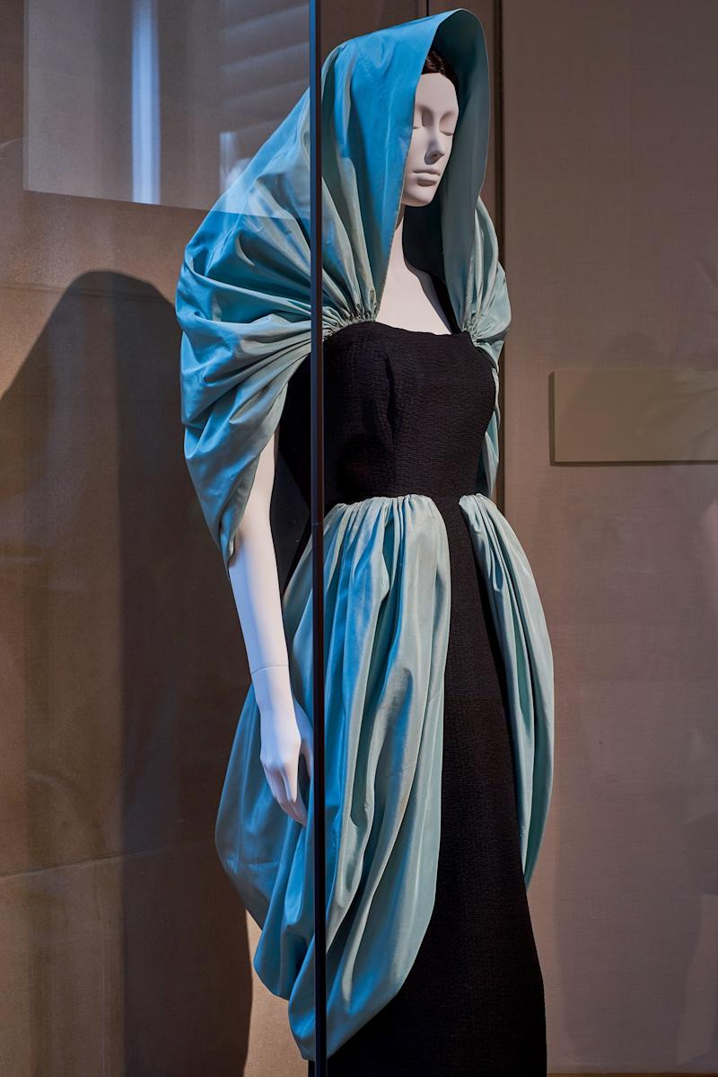 Eisa (Spanish, 1927–68). Cristóbal Balenciaga (Spanish, 1895–1972). Evening Dress, 1949. Black silk cloque and light blue silk taffeta.