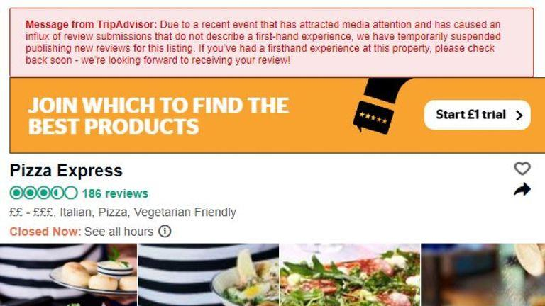 Reviews are suspended on the Woking Pizza Express branch page. Pic: TripAdvisor
