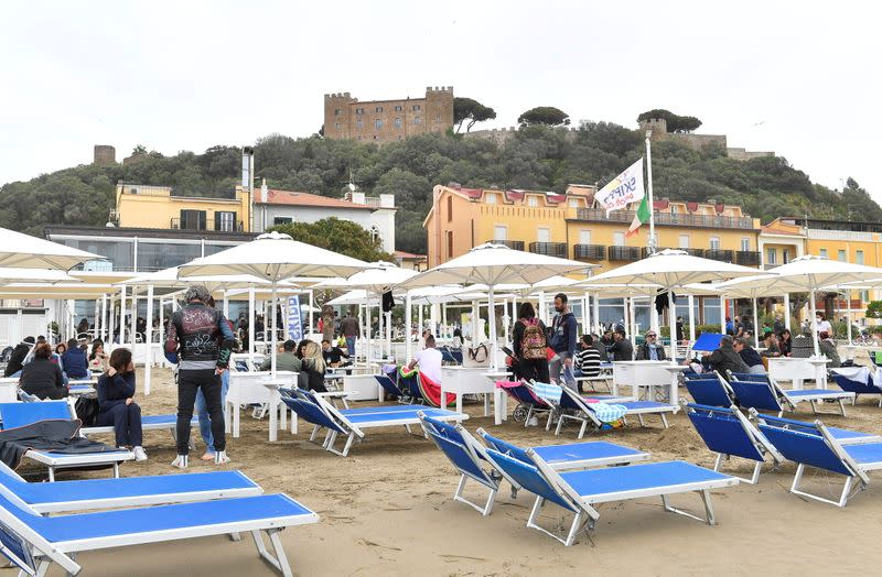 FILE PHOTO: Beaches in Tuscany open after the easing of COVID-19 restrictions, in Castiglione della Pescaia