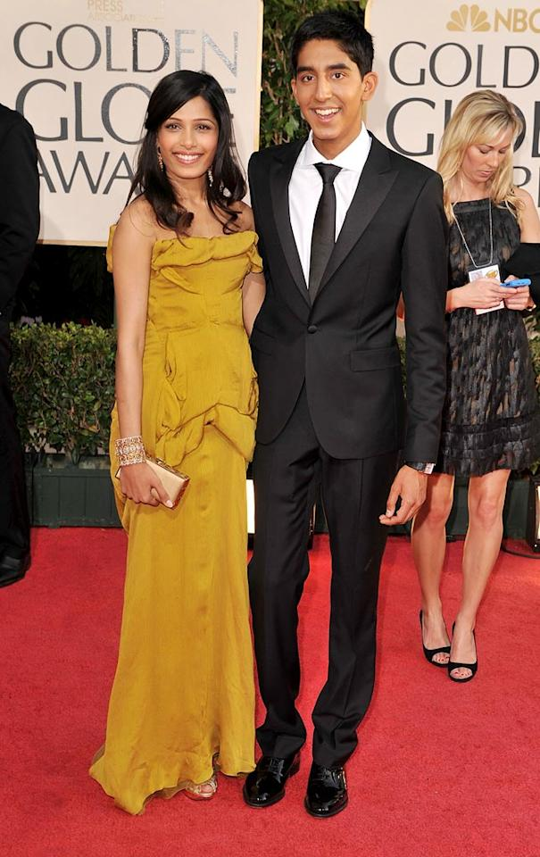 Freida Pinto and Dev Patel arrive at the 66th Annual Golden Globe Awards on January 11, 2009 in Beverly Hills, CA. (Photo by Steve Granitz/WireImage)