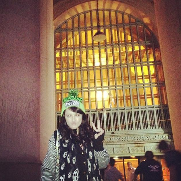 """Celebrity photos: Cher Lloyd has been working hard in the US lately, and now she's headed across to Canada to promote her music there as well. She tweeted this photo of herself arriving in Toronto alongside the caption: """"Just arrived at Toronto train station!!!xxx"""""""