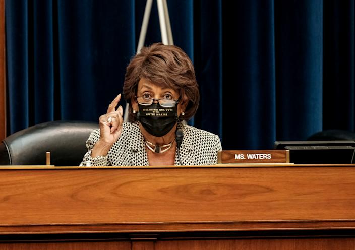 Rep. Maxine Waters (D-CA) speaks as U.S. Secretary of Health and Human Services Alex Azar testifies to the House Select Subcommittee on the coronavirus disease (COVID-19) crisis, on Capitol Hill in Washington, U.S., October 2, 2020. (Michael A. McCoy/Reuters)