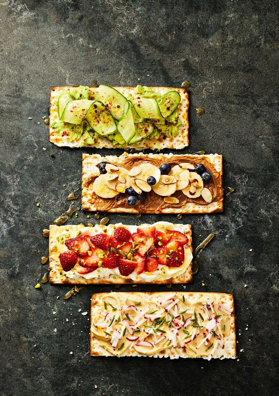"""<p>Amp up your snacking game all Passover long with these creative combos.</p><p><em><a href=""""https://www.goodhousekeeping.com/food-recipes/a35591339/matzo-toasts-recipe/"""" rel=""""nofollow noopener"""" target=""""_blank"""" data-ylk=""""slk:Get the recipe for Matzo Toasts »"""" class=""""link rapid-noclick-resp"""">Get the recipe for Matzo Toasts »</a></em></p>"""
