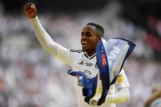 "Soccer Football - Championship Play-Off Final - Fulham vs Aston Villa - Wembley Stadium, London, Britain - May 26, 2018 Fulham's Ryan Sessegnon celebrates promotion to the Premier League Action Images via Reuters/Tony O'Brien EDITORIAL USE ONLY. No use with unauthorized audio, video, data, fixture lists, club/league logos or ""live"" services. Online in-match use limited to 75 images, no video emulation. No use in betting, games or single club/league/player publications. Please contact your account representative for further details."