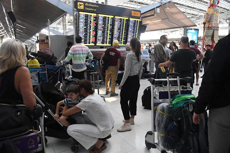 Thousands of passengers globally were left stranded when Pakistan closed its airspace amid soaring tensions with India (AFP Photo/Lillian SUWANRUMPHA)