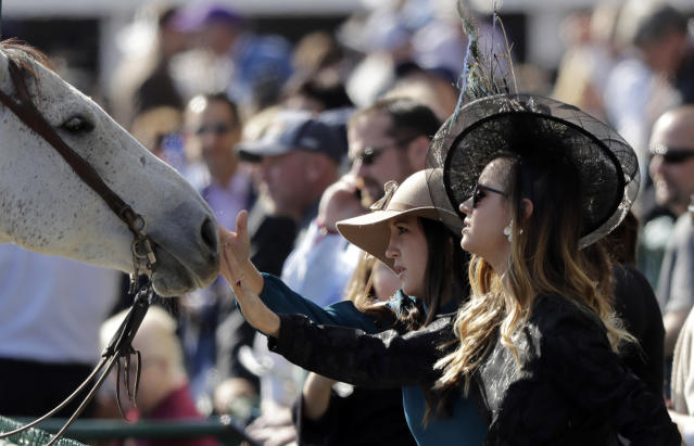 Women reach out to touch a horse between Breeders' Cup horse races at Churchill Downs, Saturday, Nov. 3, 2018, in Louisville, Ky. (AP Photo/Darron Cummings)