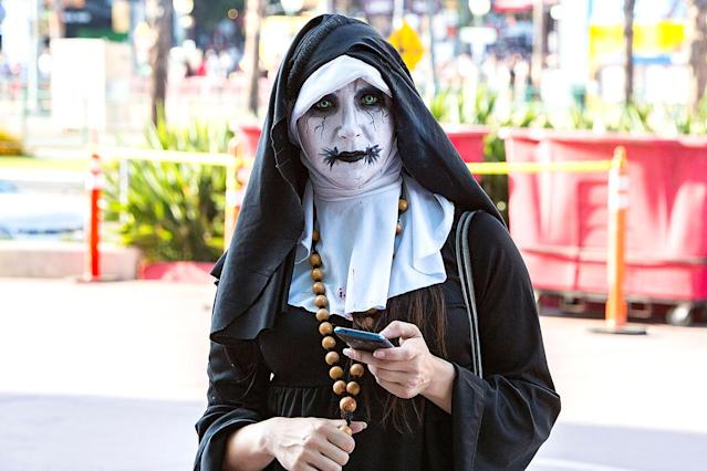<p>A cosplayer dressed as a creepy nun at Comic-Con International on July 18, 2018, in San Diego. (Photo: Daniel Knighton/Getty Images) </p>