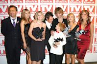"Bradley Walsh, Debra Stephenson, Jane Danson, Samuel Aston, Tina O'Brien and Nikki Sanderson the cast of ""Coronation Street"" (Photo by Jon Furniss/WireImage)"