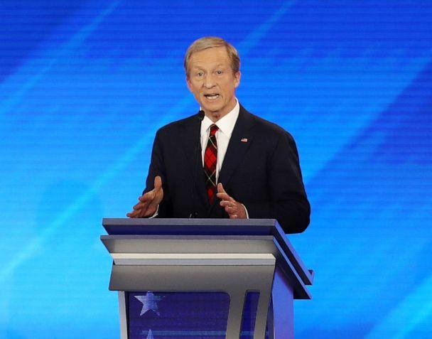 PHOTO: Democratic presidential candidate Tom Steyer participates in the Democratic presidential primary debate in the Sullivan Arena at St. Anselm College on February 07, 2020 in Manchester, New Hampshire. (Joe Raedle/Getty Images)
