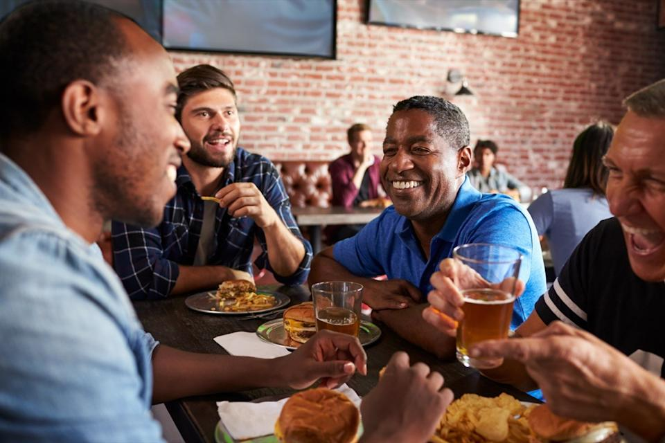 Men Drinking Beers at the Bar, changes over 40