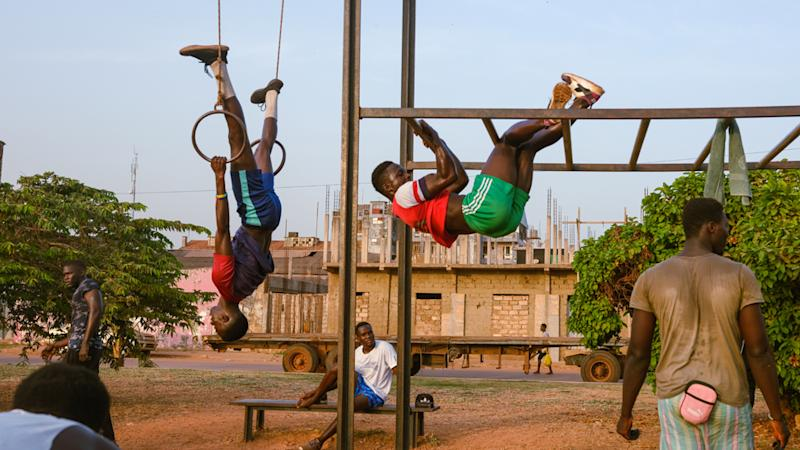 The youth exercising