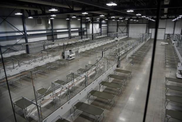 A field hospital was set up at Evraz Place in Regina in case it was needed for COVID-19 patients.  (Submitted by the Saskatchewan Health Authority - image credit)
