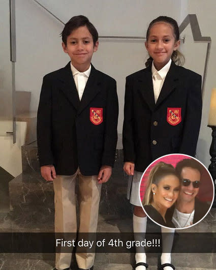 "<p>Jennifer Lopez declared herself ""so proud of my babies,"" her twins with ex-hubby Marc Anthony. However, she's well aware that the fourth-graders are ""not babies anymore."" (Photos: <a href=""https://www.instagram.com/p/BYvoxAWlbfA/?hl=en&taken-by=jlo"" rel=""nofollow noopener"" target=""_blank"" data-ylk=""slk:Jennifer Lopez via Instagram"" class=""link rapid-noclick-resp"">Jennifer Lopez via Instagram</a>/Getty Images) </p>"